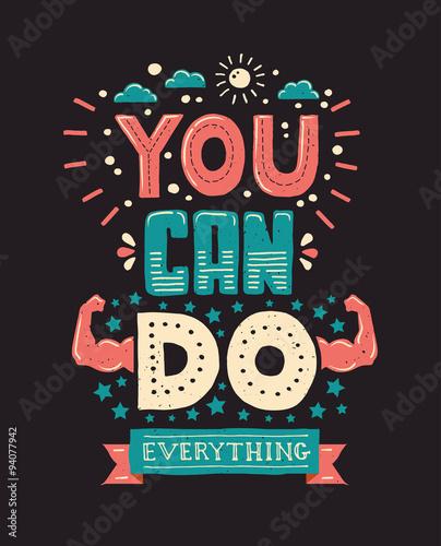 Fotografie, Obraz  Modern  flat design hipster illustration with phrase You can do