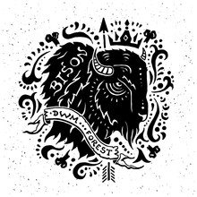 Illustration Of Vintage Grunge Label With Bison