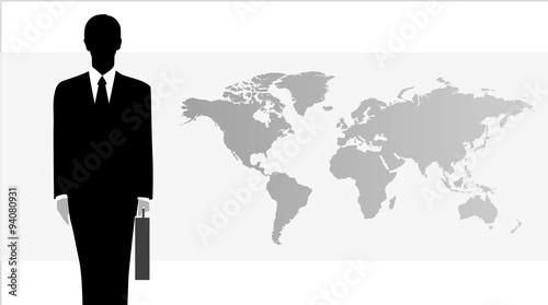 Montage in der Fensternische Weltkarte 비즈니스 일러스트