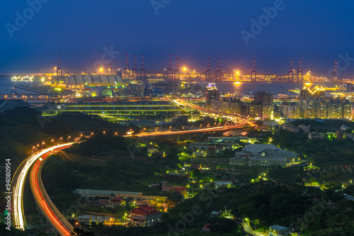 Aluminium Prints Industrial building aerial view of Taipei city and harbor