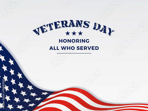Fotografía  Veterans Day and White Background With Wavy USA Flag Design