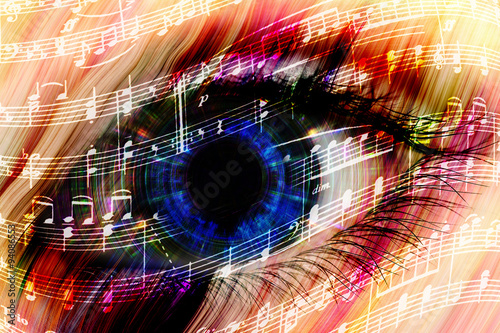 Photo music background with abstract eye