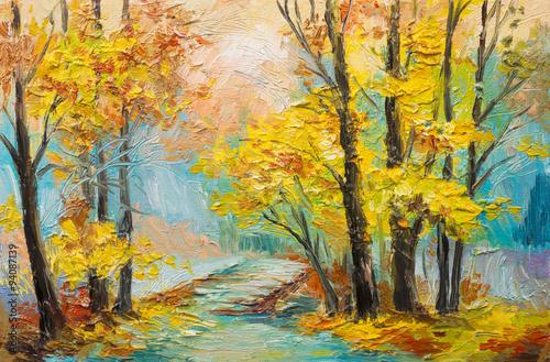 obraz-olejny-krajobraz-kolorowy-jesien-las