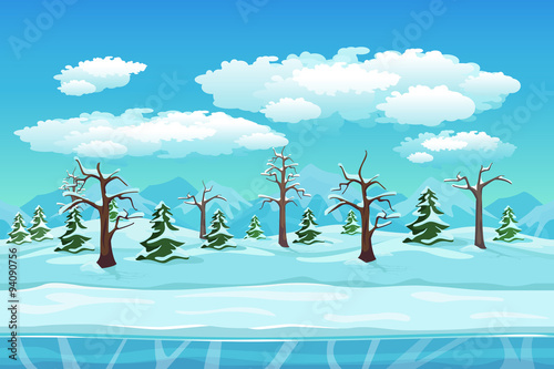 Spoed Foto op Canvas Turkoois Cartoon winter landscape with ice, snow and cloudy sky. Seamless