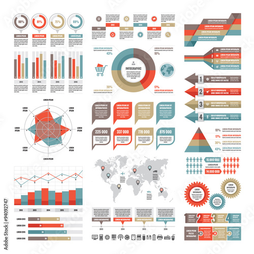 Fotografie, Tablou  Business infographic concept - vector set of infographic elements in flat design style for presentation, booklet, website etc