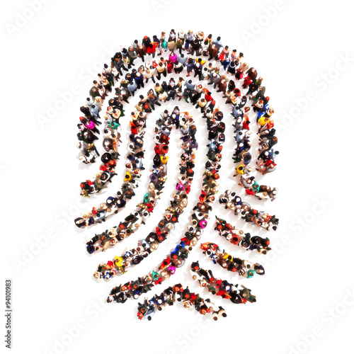 Fotografia Large group pf people in the shape of a fingerprint on an isolated white background