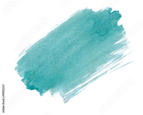 A fragment of the turquoise background painted with watercolors Wall mural