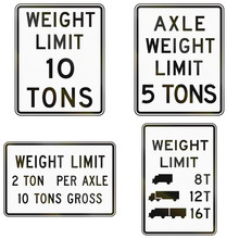 Collection Of Weight Limit Signs Used In The USA