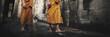 Leinwanddruck Bild - Contemplating Monk in Cambodia Culture Concept