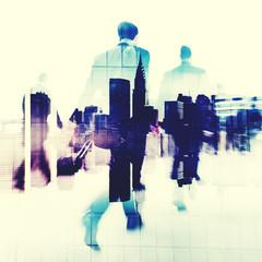 Commuter Business People Commuter Crowd Walking Concept