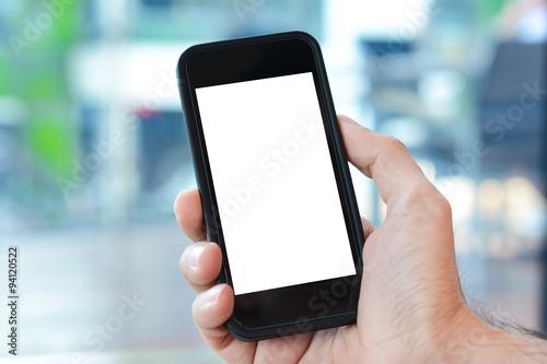 Pinturas sobre lienzo  Hand holding smart phone with empty screen