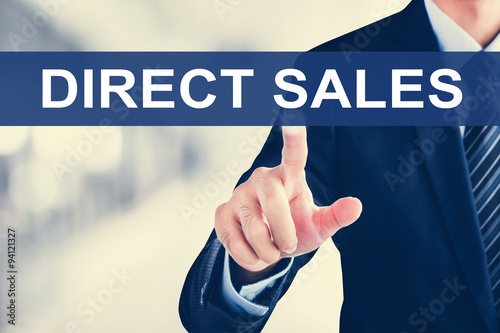 Businessman hand touching DIRECT SALES message on virtual screen Poster