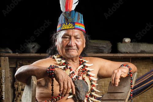 fototapeta na lodówkę Amazonian Shaman Portrait
