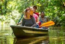 Tour Tourist Boat Group Jungle Travel Sightseeing Rainforest Holiday Adventure Tourist Boat Navigation On Gloomy Amazonian Water In Cuyabeno Wild Animal Preserve Tour Tourist Boat Group Jungle Travel