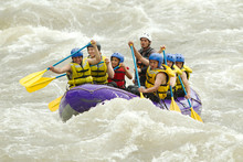 Raft Water White Team Adventure Group People Crowd Of Mixed Mountaineer Human And Lady With Guided By Professional Pilot On Whitewater Flow Rafting In Ecuador Raft Water White Team Adventure Group Pe