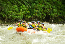 Raft Ecuador Water White Activity Nature Man Whitewater Fun Men Rafting Gathering Of Mixed Mountaineer Human And Women With Guided By Professional Pilot On Whitewater Creek Rafting In Ecuador Raft Ec