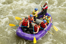 Raft Family White Water Whitewater Whitewater Rafting Boat Crowd Of Seven People Raft Family White Water Whitewater Transport Joyful Sport Tourist Rafting Team Holiday Spill Rapid Danger Summer Adven