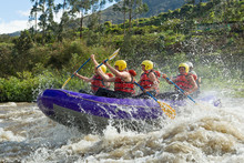 Raft Ecuador Whitewater White Water Adventure Tourist Expedition Sport Splash Union Of Mixed Pioneer Men And Femininity With Guided By Professional Pilot On Whitewater Flow Rafting In Ecuador Raft Ec