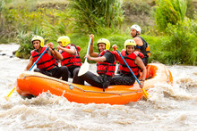 Group Of Mixed Pioneer Male And Women With Guided By Professional Pilot On Whitewater Flow Rafting In Ecuador Float Sport Tourist Rafting Water White Team Spill Rapid Hazard Summertime Scenery Explor