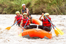 Gathering Of Mixed Mountaineer Men And Femininity With Guided By Specialist Pilot On Whitewater Flow Rafting In Ecuador Ship Race Visitor Rafting Water White Team Flow Rapid Danger Summer Scenery Exp