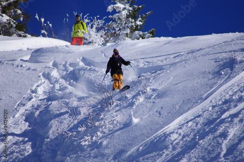 Poster Glisse hiver sports d'hiver - journée poudre