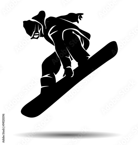 vector silhouette snowboarder Wall mural