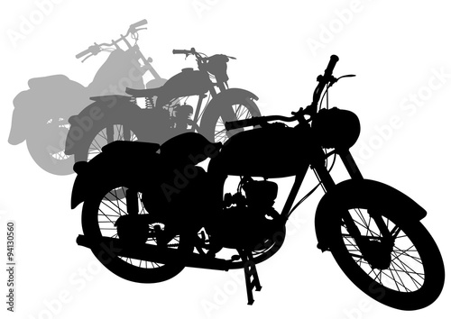 Poster Motorcycle Old retro bike on white background