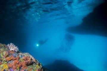 Fototapeta na wymiar Taucher - Höhle - Karibik