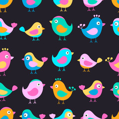 Hand drawn seamless pattern with cute birds. Fun birds for kids design. Vector. Bright colors - pink, blue, yellow, orange. On black background.