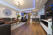 Leinwandbild Motiv Luxury specious living room interior with modern ceiling lights