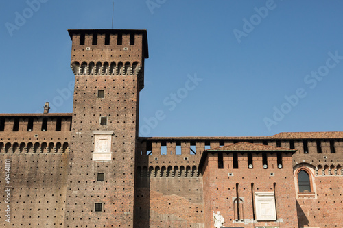walls and towers of the 15th century Sforza Castle, Milan, Italy