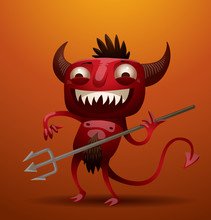 Vector Laughing Little Red Devil. Image Of A Laughing Little Red Devil With Horns And A Tail, Holding A Trident In His Hand On An Orange Background.