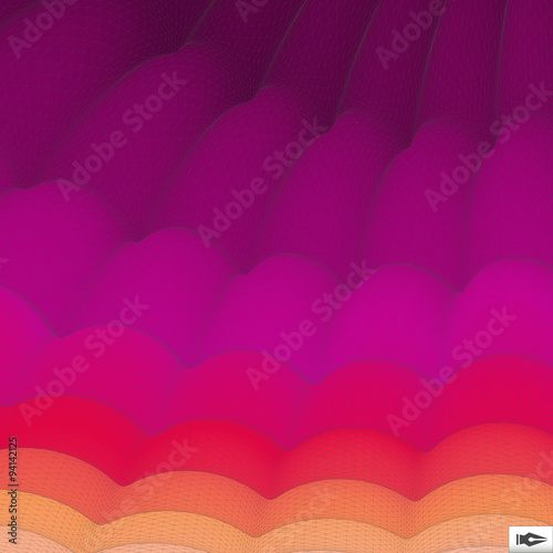Fotografiet  Wavy Grid Background. Mosaic. 3d Abstract Vector Illustration. .