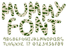 Unusual Mummy Style Alphabet. Hand Drawn Dark Green Letters And Numbers Wrapped With Beige Bandages Isolated On White Background. Ideal Font For A Halloween Party Posters And Invitations.