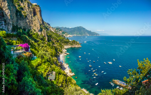 Cadres-photo bureau Cote Postcard view of Amalfi Coast, Campania, Italy