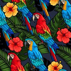 Panel Szklany Podświetlane Do przedpokoju Macaw and hibiscus seamless