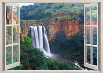 Panel Szklany Wodospad Open window view to Elands River Falls, South Africa
