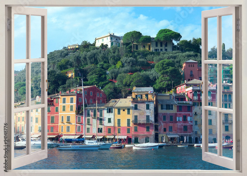Fotomural pen window view to old Portofino, Italy