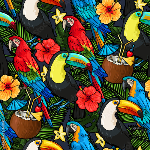 Foto op Canvas Draw Macaw and tropical cocktail seamless
