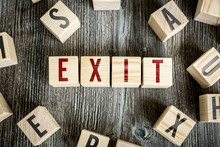 Wooden Blocks With The Text: Exit
