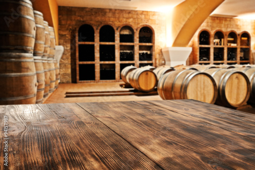 table and barrels Canvas Print
