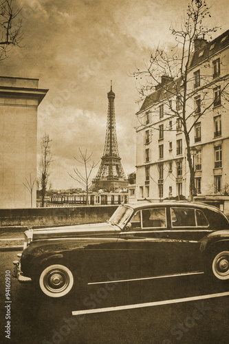 Vintage retro old styled paris sepia photography Poster