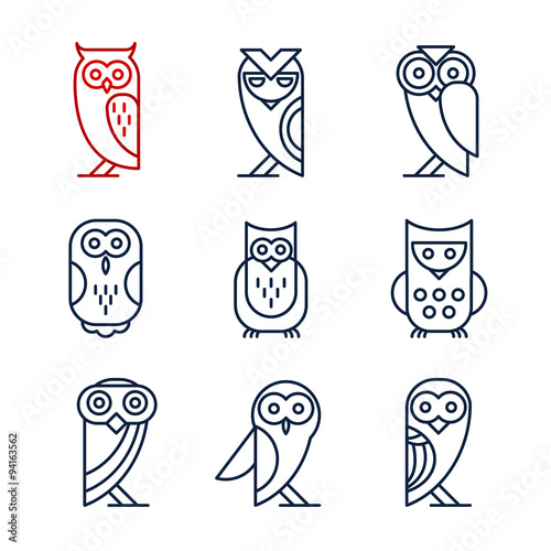 Canvas Prints Owls cartoon Set of Owl Design Elements in Linear Style