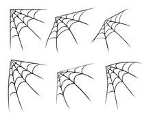 Halloween Corner Spider Web, Cobweb Symbol, Icon Set. Vector Illustration Isolated On White Background.