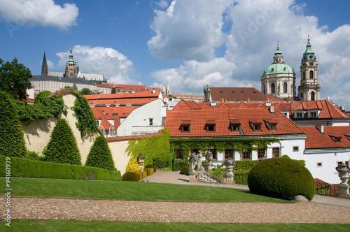 Prague Castle from Vrtbovska Garden in Prague, Czech republic Poster