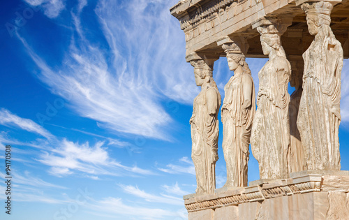 Athens - The statues of Erechtheion on Acropolis in morning light Canvas Print