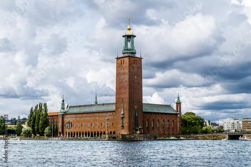 Staande foto Stockholm The tower of the Stockholm city hall in Stockholm.