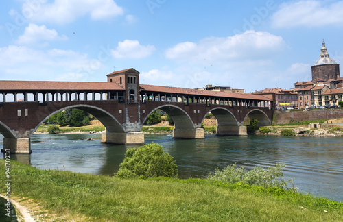 In de dag Brug Pavia (Italy): covered bridge