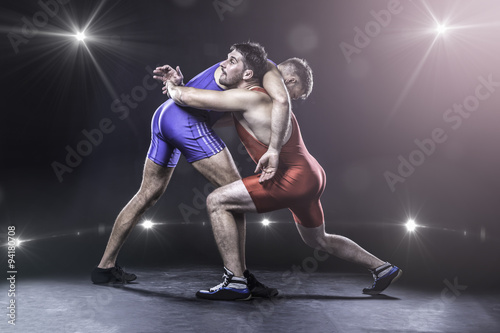 Obraz Freestyle wrestlers in action - fototapety do salonu