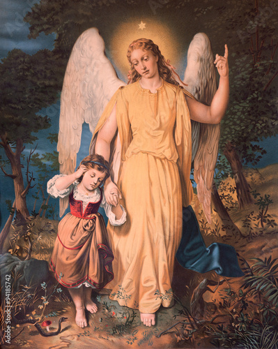 Foto  Guardian angel with the child. Typical catholic image